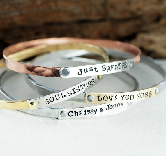 Custom Bangle Bracelet, Mothers Bracelet, Mantra Bracelets, Stackable Cuff Bracelets, Personalized Bangle Bracelet, Gift for Mom