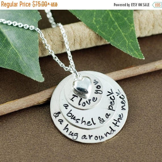 15% OFF SALE I love you a bushel and a peck Necklace, Birthstone Necklace, Hand Stamped Necklace, Personalized Necklace, and a hug around yo