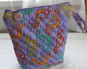 Machine Quilted KOKOPELLI FABRIC COSMETIC Bag/Ditty Bag/Wide Mouth Opening/Zippered Cosmetic Bag/2 Use As Travel Storage