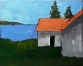 RESERVED For Christine North Coast FARM BARNS Painting California Art Lynne French o/c 8x10