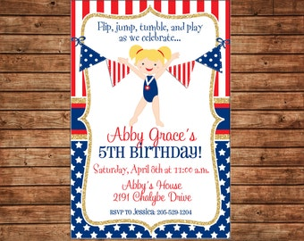 Girl Gymnastics Gym Tumbling Red White Blue Gold Glitter Patriotic Olympics Birthday Invitation - Customize hair/skincolor - DIGITAL FILE