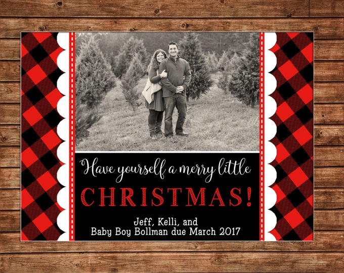 Photo Picture Christmas Holiday Card Lumberjack Plaid Red Black - Digital File