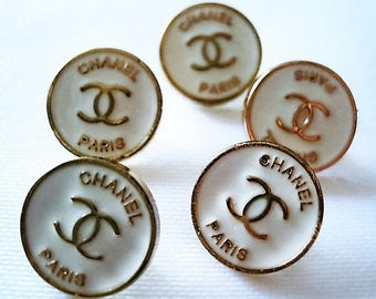 Lot of 5 Chanel White Enamel Gold Metal Buttons, 13 mm