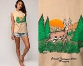 Deer Tank Top 80s MONTANA Shirt Glacier National Park Animal Shirt Sleeveless Graphic Print 1980s Cut off Hipster Tan Vintage Small Medium