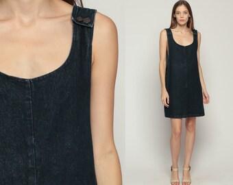 Denim Mini Dress 90s Jumper Black Overall Dress Jean Shift 1990s Grunge Pocket Normcore Vintage Minidress Sleeveless Smock Medium