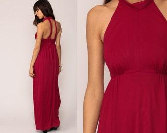 Grecian Dress 1970s Maxi Party 70s Boho Cut Out Empire Waist Tank Long Vintage Sleeveless Bohemian Raspberry Red Small