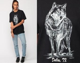 WOLF TShirt Animal T Shirt 90s Graphic Tshirt DALLAS TEXAS Shirt Black Hipster 1990s Screenprint Retro Medium