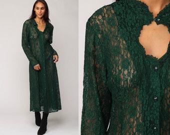 LACE Dress Vintage SHEER 90s Midi KEYHOLE Grunge Boho 1990s Bohemian Party Dark Green Cut Out Button Up Victorian Gypsy Drape Medium