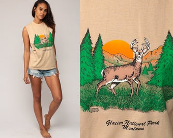 Deer Tank Top 80s MONTANA Shirt Glacier National Park Animal Shirt Sleeveless Graphic Print 1980s Cut off Hipster Tan Vintage Small Medium