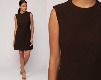 Mod Mini Dress 70s Sheath Plain Brown Sleeveless Twiggy 60s Vintage Retro Minidress Gogo Textured Polyester Go Go Sixties Medium Large