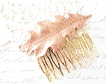 Rose Gold Leaf Hair Comb - Oak Leaf Hair Comb - Woodland Leaf Hair Accessory - Wedding Hair Comb - Bridal Oak Leaf Hair Comb