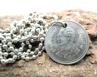 Thailand Thai King Rama IX coin pendant silver plated necklace memorial Jewelry for Thai people silver plated ball chain necklace