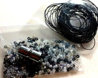 Kumihimo Bracelet Kit, Kumihimo, Beads, 014, White Black Gray