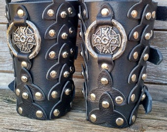 Reenactment Black Scaled Leather Bracers with Dragon Cross and Antiqued Nickel Primitive Ring and Spots