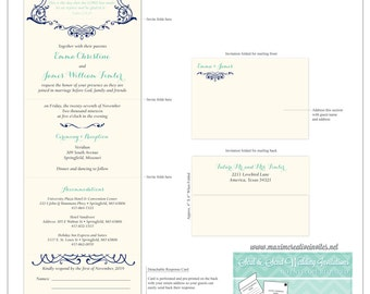 Romantic Grace Seal and Send Invitation - All In One Invitation - Perforated RSVP Card - Folding Wedding Invitation