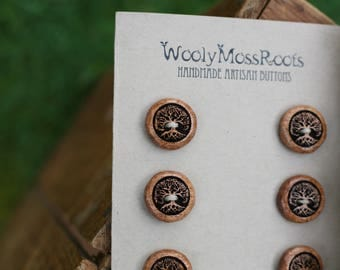 6 Madrone Tree Buttons- Oregon Myrtlewood- Wooden Buttons- Eco Craft Supplies, Eco Knitting Supplies, Eco Sewing Supplies