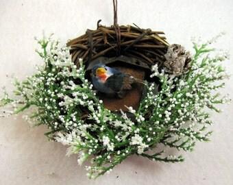 Blue Bird and Rustic Birdhouse Christmas Ornament 506