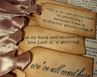 Alice in Wonderland Quote Gift Tags/ 45 Alice Vintage Style Wedding Decoration Tags/ Alice in Wonderland party favor tags