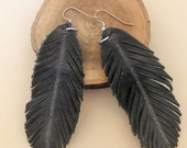 Dark Gray Leather Feather Dangle Drop Earrings