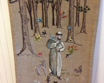 ST FRANCIS of ASSISI Needlepoint 32 by 20 inches Wall Hanging