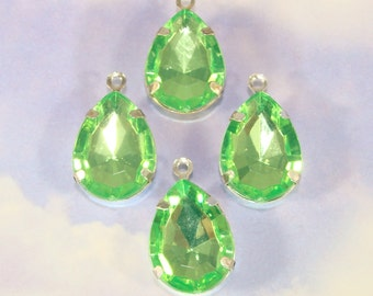 6 LARGE Green Rhinestone Teardrop Crystal Charms Peridot Set Stones Plastic Faceted Drops 18mm x 14mm SILVER Pronged Jewelry Supplies Bulk