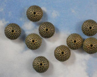 SaVE BuLK 50 Saucer Beads Rondelle Spacers Bronze Tone Bali Style Granulated Style 11mm X 6mm (P1968 -50)