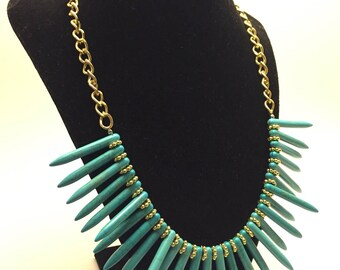Tha Aztec Statement Necklace - Spikey Turquoise Beads