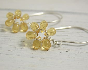 Earrings with Tiny Honey Yellow Glass Teardrop Flowers on Large French Earring Wires FE-40