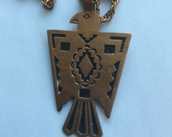 Vintage Native American Solid Copper Bell Trading Post Eagle Necklace