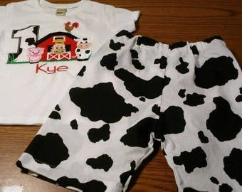 Barn Farm animals Country Boys Birthday Outfit Number Shirt or Onesie and shorts