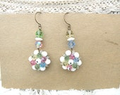 SOLD pastel bead earrings assemblage recycle eco friendly upcycled jewelry cluster