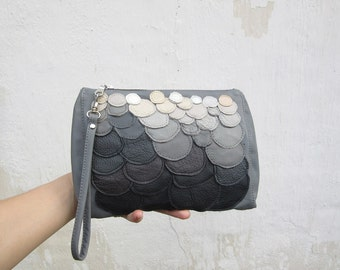 grey leather clutch bag, leather wristlet, stonehenge clutch, holiday season bag, leather clutch ombre winter fashing,