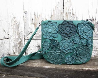 Green leather bag women messenger floral leather leather bag flower shoulder bag rose leather bag leather messenger