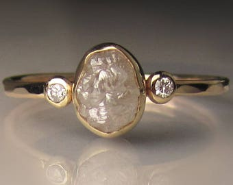 Raw Diamond Engagement Ring, 14k Yellow Gold Rough Diamond Ring
