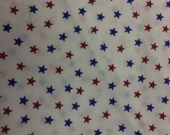 Red and Blue Stars on White Print 100% Cotton Fabric