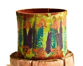 Cuffs Bracelets Boho Jewelry Women's Wristbands Leather Paint Art