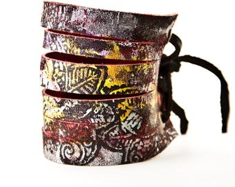 Leather Jewelry Wide Cuff Bracelet for Women Tattoo Covers