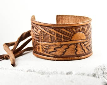 Holiday Sale Tooled Leather Bracelet Cuff Wristband Vintage Holiday Shopping