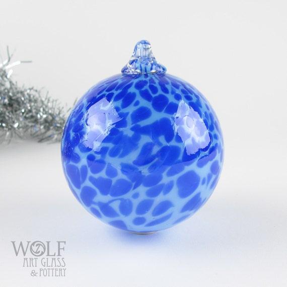 Blown Glass Ornament Suncatcher Ball Ocean Blue Speckle