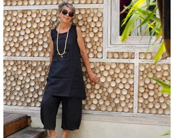 LINEN, Tunic, Loose, Sleeveless, Resort Wear, Bohemian, Island Style, Bali, Black, White, Gray, Natural, Wayan Tunic, Size 4-18