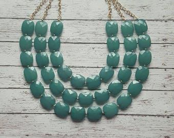 FREE EARRINGS Teal Triple Strand Chunky Statement Bib Necklace...Purchase 3 or more get 10% off