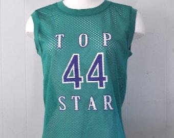 Vintage Mesh Tank Top Aqua Green Teal Shirt Summer Soft Thin Top Star Number 44