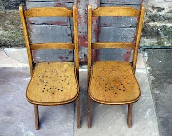 Pair of vintage mid century Venesta children's folding chairs