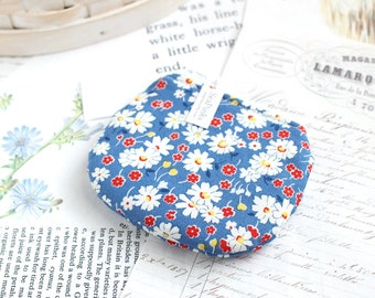 Little Blue Floral Coin Purse Small Zipper Pouch Blue Change Purse