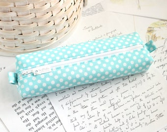 Cute Aqua Blue Polka Dot Pencil Case Boxy Pouch Polka Dot Zipper Pouch Sky Blue Pencil Pouch
