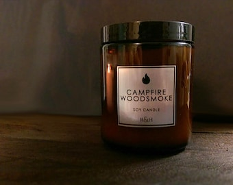 Campfire Candle - Best Seller Camp Firewood Scented Soy Candle, Fathers Day Gift Ideas, Gift for Dad Boyfriend - Men's Firewood Man Candle