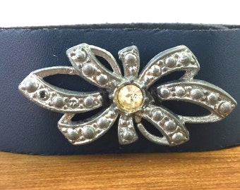 Leather Bracelets for Women, Leather Bracelet, Vintage Rhinestone Bracelet, Vintage Jewelry, Embellished Leather Bracelet, Leather Cuff
