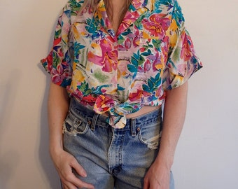 Womens Blouses Vintage Silk Tropical Print