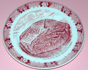 Old English Staffordshire Ware Plymouth Rock Pink Transferware 7 inch Plate