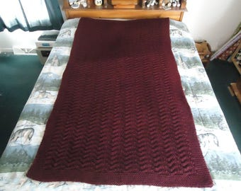 Red Heart Claret Hand Knitted Chevron Afghan,  Blanket,  Throw  - Home Decor